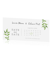 Chique save the date met aquarel takjes