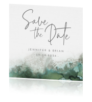 Chique save the date met groen grijze aquarel