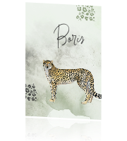 Geboortekaartje Cheetah jongen watercolor animal print