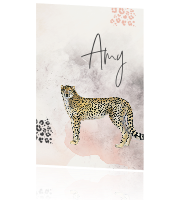 Geboortekaartje Cheetah Animal print watercolor