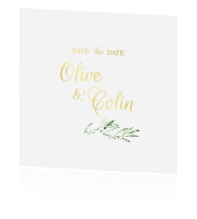 Goudfolie save the date olive dream