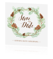 Superleuke save the date met kerstkrans