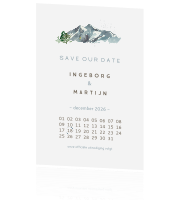 minimalistische save the date winter bergen
