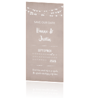 Moderne save the date met lampjesslinger