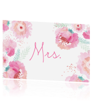Mrs bordje met watercolor Bloemen