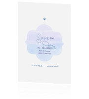 Save the date kaart met aquarel embleem