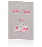 save the date met kraft bloemenkrans in pastelkleuren
