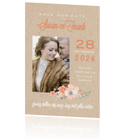 Save the date met foto en hartjes in aquarel