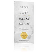 Moderne save the date kaart met goud logo