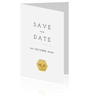 Strakke save the date kaart met goud logo