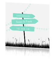 Trendy save the date Trouwkaart met bewegwijzering