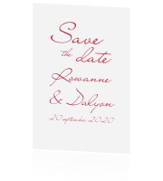 Save the Date kalligrafie klassiek rood