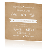 Vintage save the date met banner en typografie