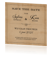 Vintage save the date met kraft en typografie