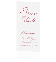 Save the Date langwerpig kalligrafie klassiek rood