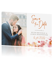 Save the date liggend foto confetti spetters