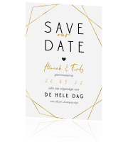 Geometrische Save the Date in goudlook