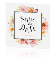 Moderne trendy save the date met bloemen