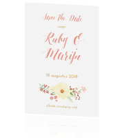 Bohemian save the date met bloemen