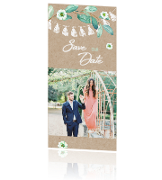 Trendy save the date kaart met takje en slinger