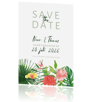 save the date tropical met bladeren en bloemen