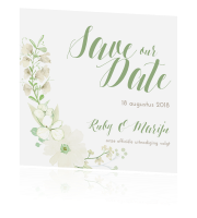 save the date met foto bohemian krans