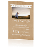 Kraft save the date typografie met banner