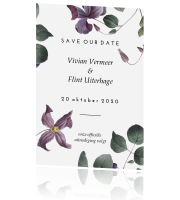Vintage bloemen save the date met logo