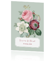 Vintage bloemen save the date met label