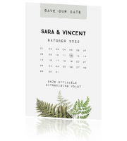 Vintage varens save the date met kalender
