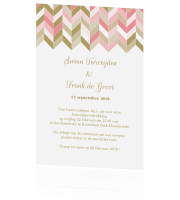 Stijlvolle Trouwkaart chevron patroon peach gold