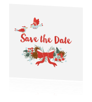 Save the date met kerstkrans in traditionele kleuren