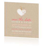 Romantische Save the Date met hartjes in watercolor