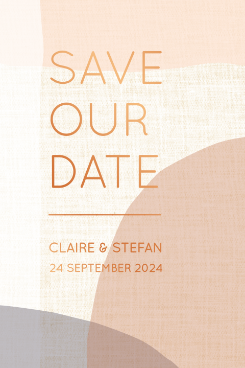 abstracte save the date met vlakken en koperfolie