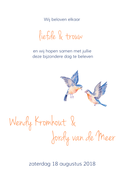 Trouwkaart Love Birds