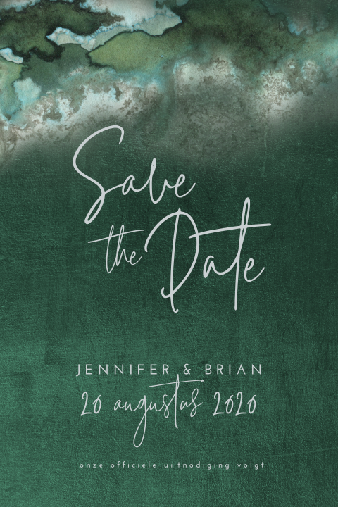 Chique save the date met diepgroene achtergrond