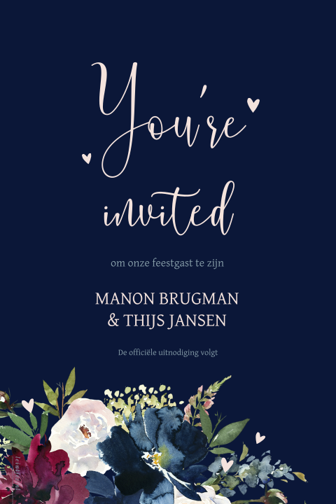 Donkerblauwe save the date aquarel bloemen