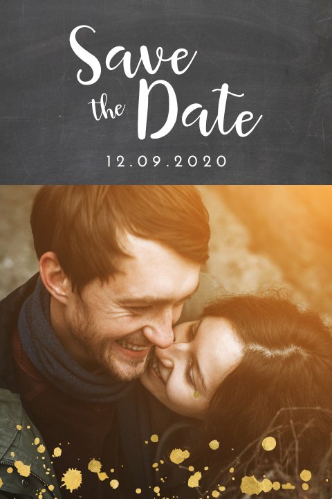 strakke save the date met goudlook