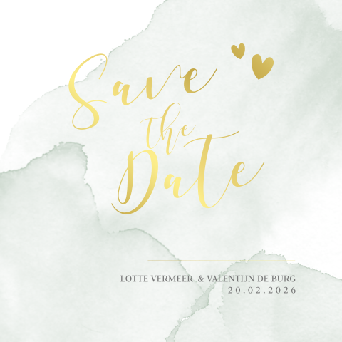Goudfolie save the date aquarel groen