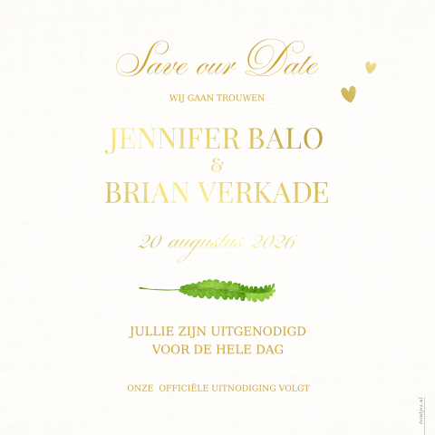 Goudfolie Save the date greenery groene takjes