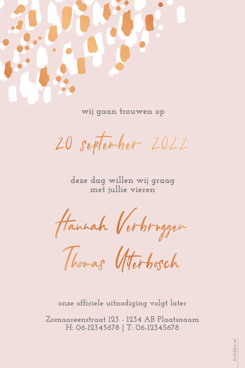 Koperfolie save the date streepjes blush