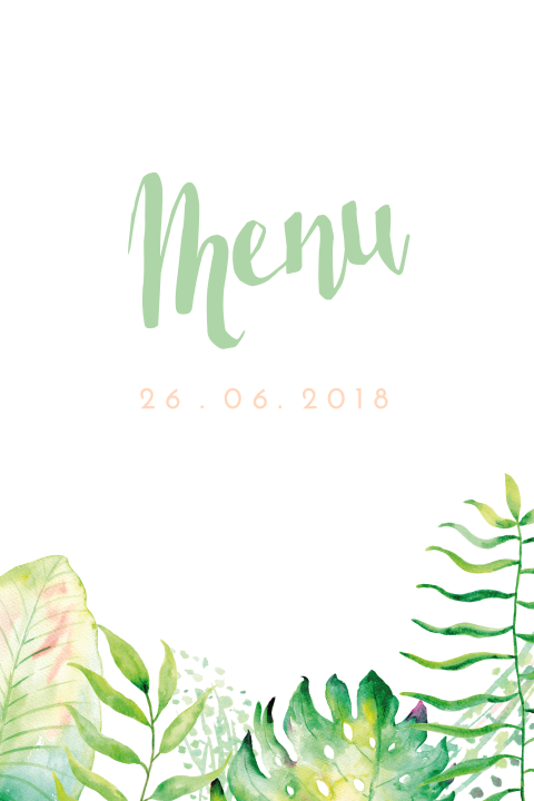 Watercolor Jungle Menu kaart