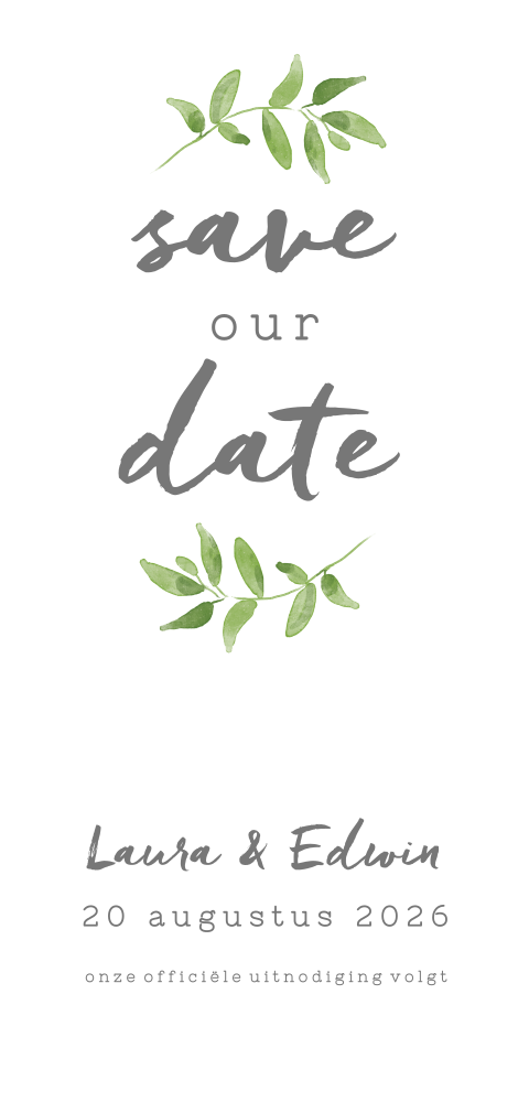 Chique save the date met groen takje