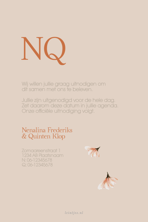 minimalistische save the date met palmblad