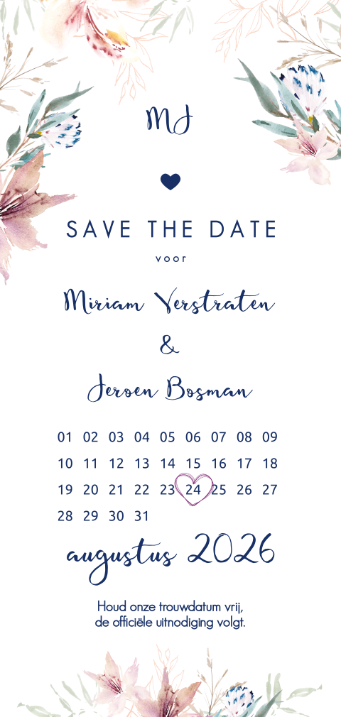 Romantische save the date met kalender