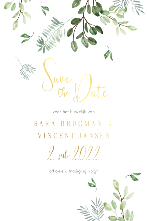 save the date blaadjes goudfolie sweet leaves