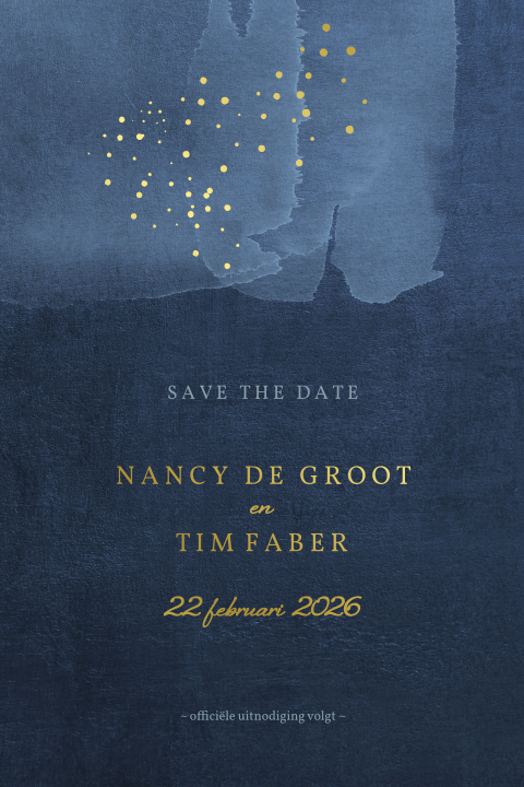 save the date blauw confetti stippels goudfolie