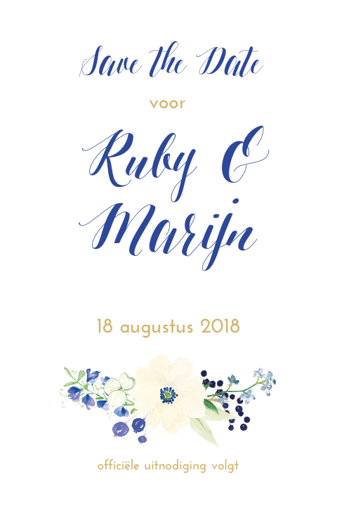 Save the date met bloemen