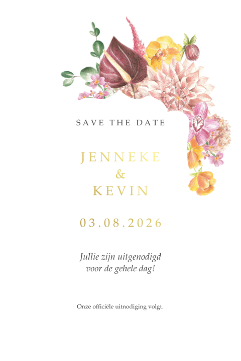 Save the Date Fiesta Flowers Goud folie