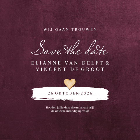 Save the date bordeaux met houten hartje